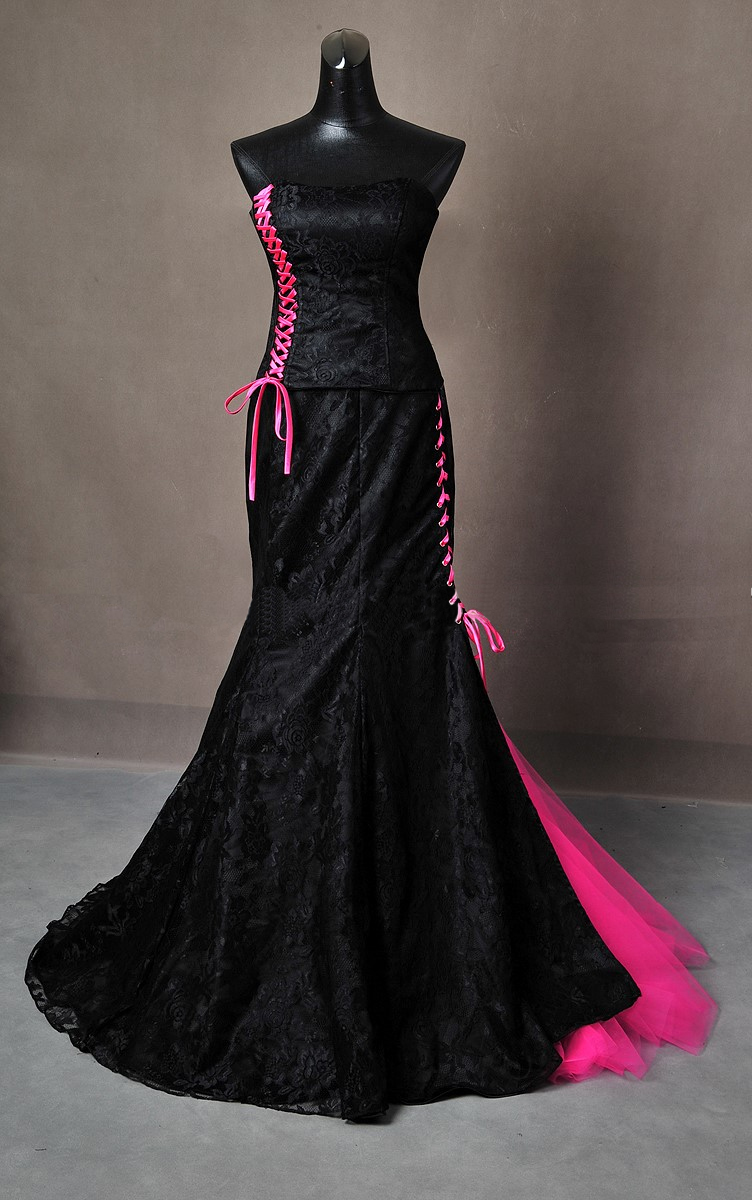 Gothic Wedding Dress Black And Pink Gown Made To Measure Handmade Uk