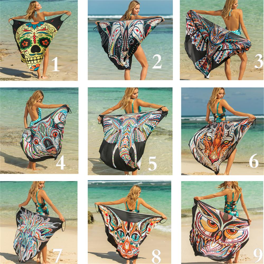 Women Beach Cover Up Dress Floral Print Shawl Summer Beachwear Bikini