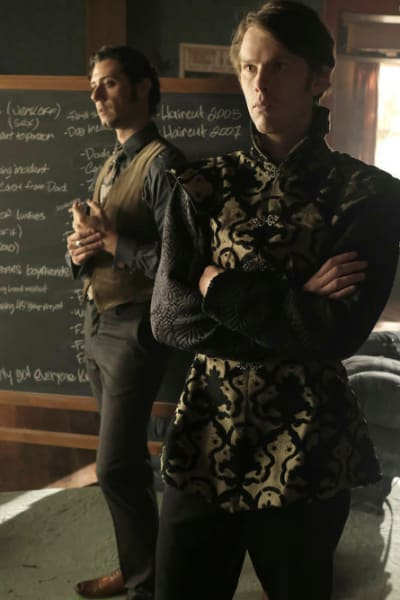 Eliot and charlton in front of chalkboard the magicians s4e5