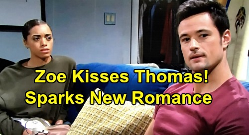 The bold and the beautiful spoilers zoe kisses thomas