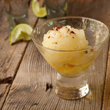 Margarita sorbet with sweet and spicy lime-infused sea salt