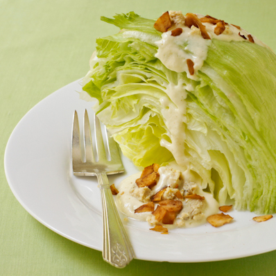 "Iceberg Wedge Salad with vegan ""cheese"" and coconut ""bacon"""