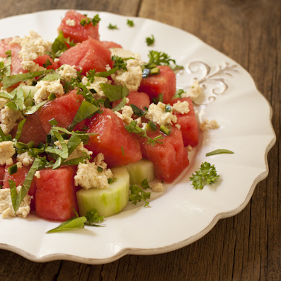 "Watermelon salad with tofu ""feta"""