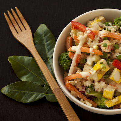 Exotic Thai rice bowl salad with Asian lime cream sauce