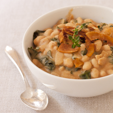 Quick smoky white bean & kale soup