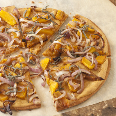 Butternut squash and sage pizza with caramelized onions and smoky white pizza sauce