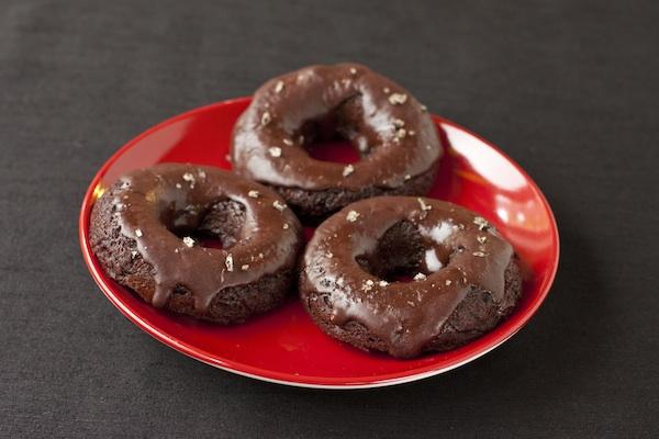 Chocolate-chili glazed baked doughnuts