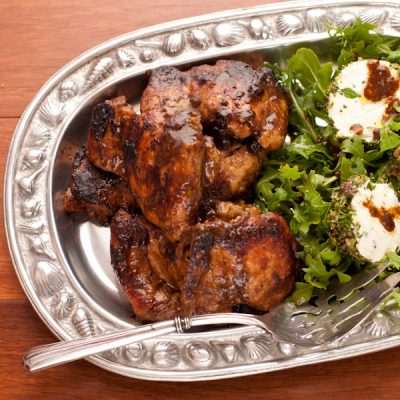 Fig-balsamic glazed chicken thighs, arugula salad with goat-cheese medallions