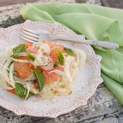 Grapefruit and shaved fennel salad with fresh mint