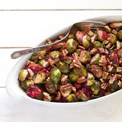 Roasted Brussels sprouts with fresh cranberries and toasted pecans