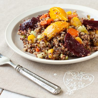 Roasted beet quinoa salad