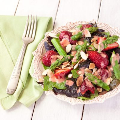 Strawberry-asparagus salad with strawberry-balsamic vinaigrette
