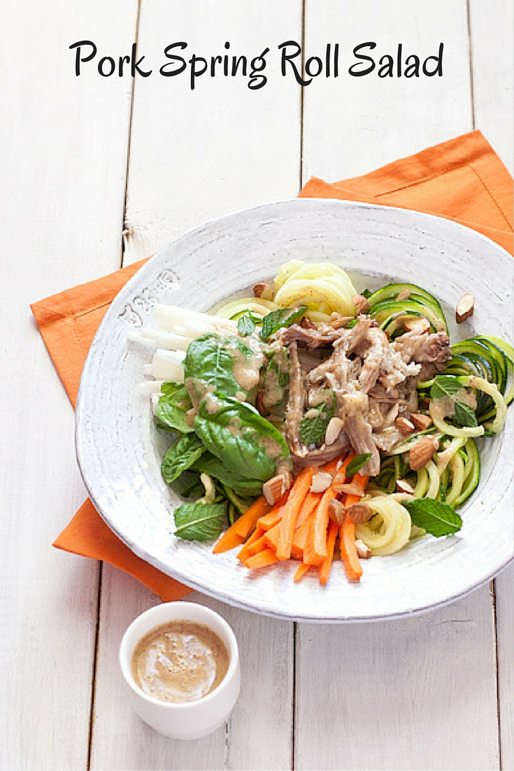 Pork Spring Roll Salad from Recipe Renovator, a great way to use up leftover pulled pork in a fresh, veg-forward salad! Gluten-free, paleo, Whole30 compliant