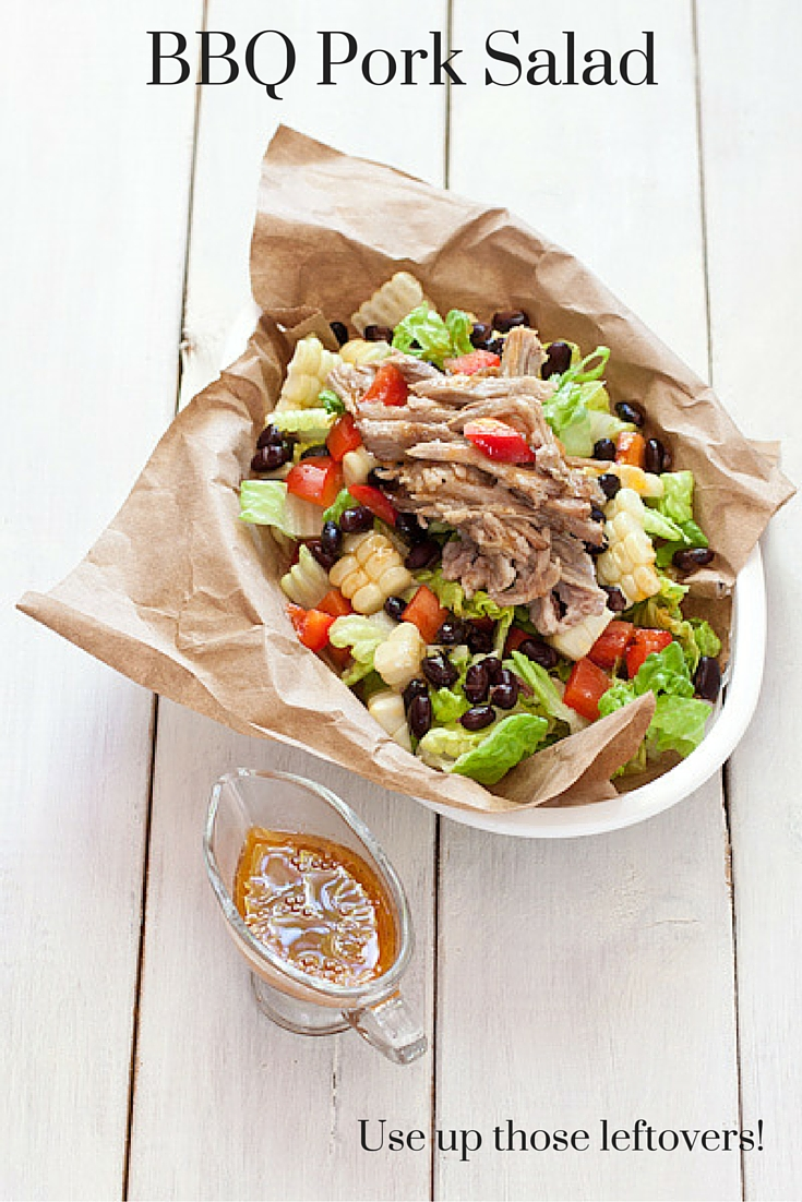BBQ Pork Salad: Have leftover pulled pork and maybe some corn on the cob? Create a fresh and veg-forward salad the next day. The dressing even uses leftover BBQ sauce!
