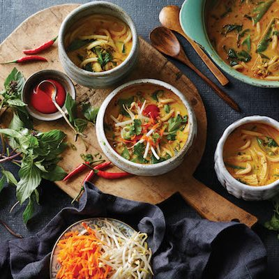 Thai red curry-chicken noodle soup