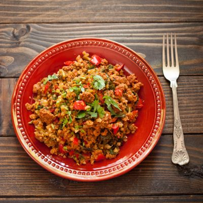 Paleo dirty rice with turkey chorizo from Recipe Renovator, always gluten-free