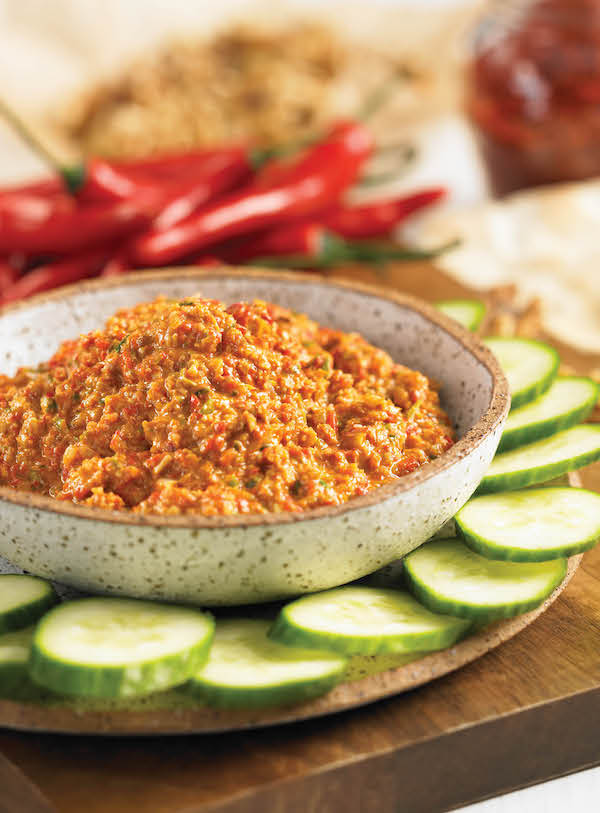 Middle Eastern walnut dip from The Chile Pepper Bible by Judith Finlayson