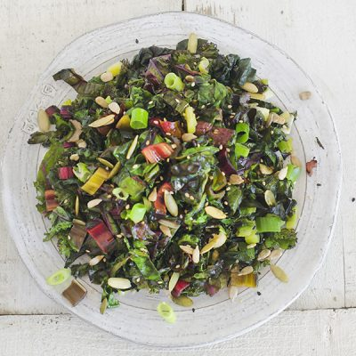 Spicy kale and Swiss chard sauté from The Migraine Relief Plan by Stephanie Weaver (Surrey Books)