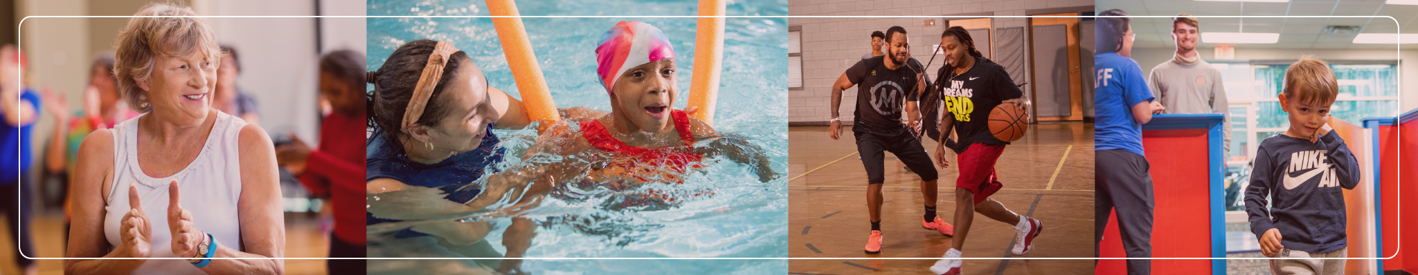 YMCA members in group exercise class, swim lessons, basketball gym and child care Play and Learn.