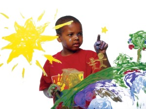 African American Boy Finger Paint