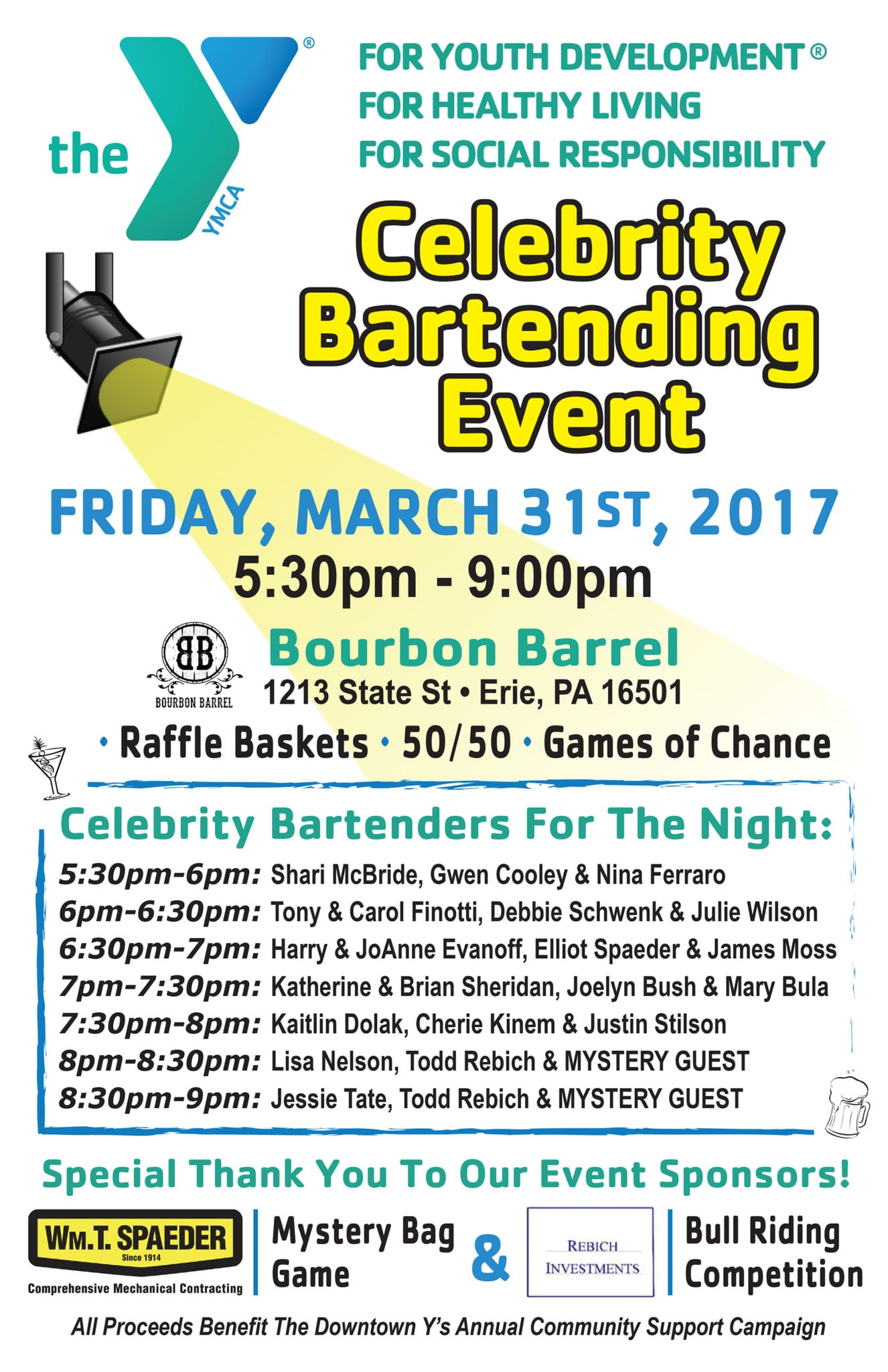 Downtown Y Celebrity Bartending Event