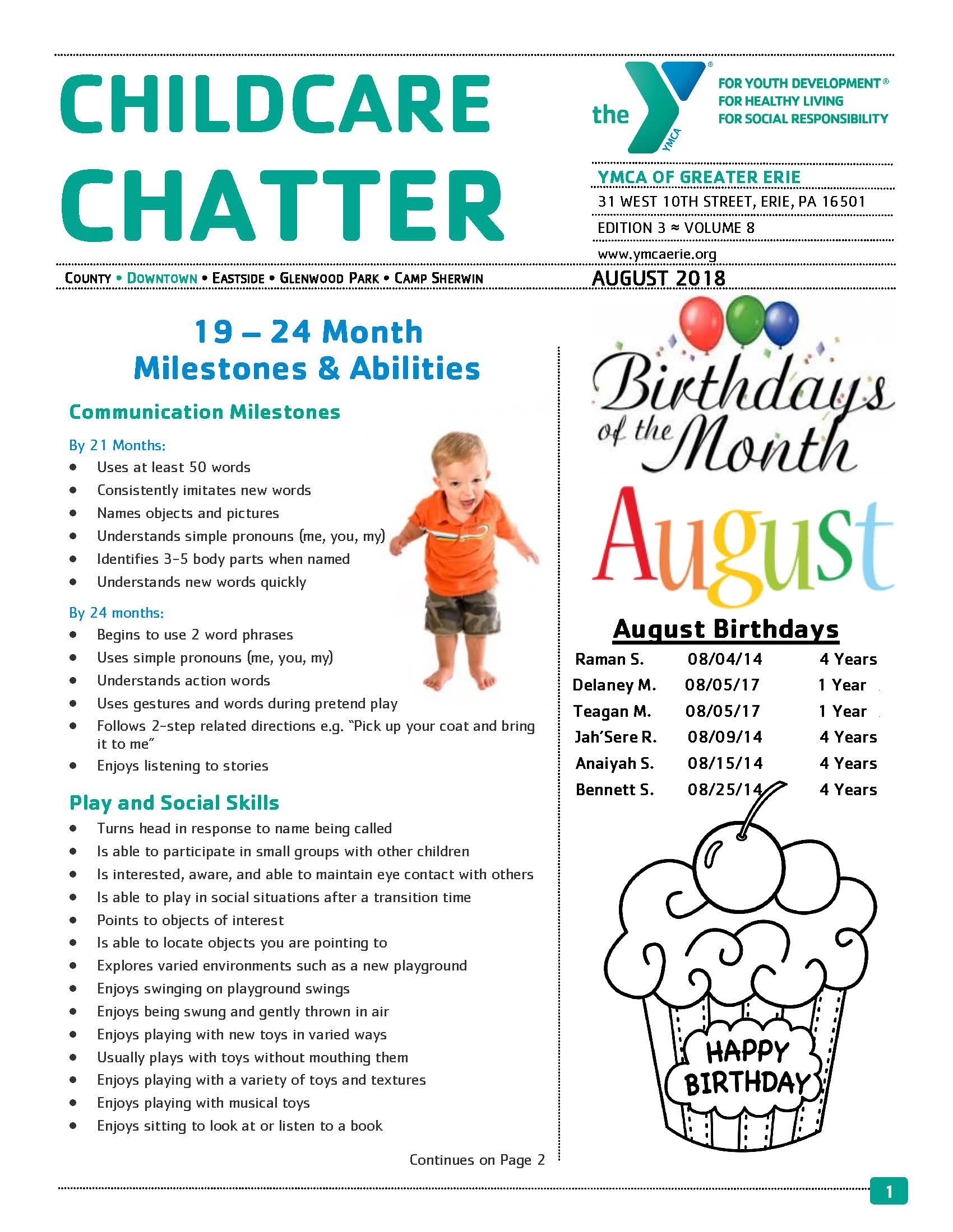 August Child Care Newsletter