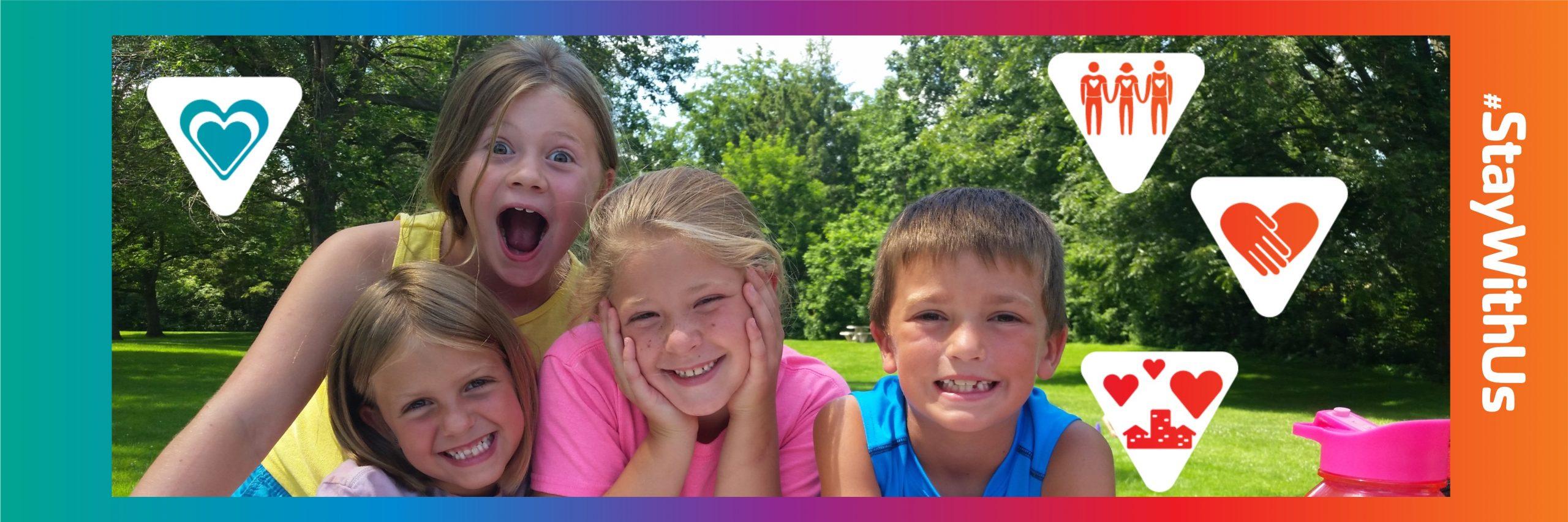 children outside smiling