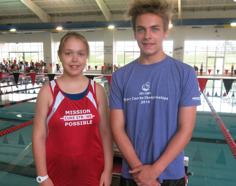 Elizabeth and Matthew Barnes fell in love with competitive swimming after Elizabeth's kidney transplant.
