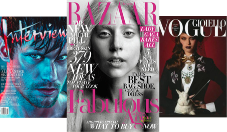 Interview Magazine, Bazaar Magazine, Italian Vogue Magazine の表紙