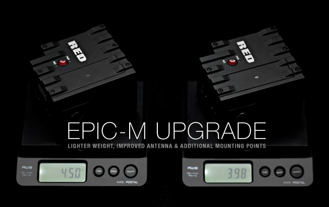 RED Digital Cinema announces the EPIC-M Upgrade Program. As a service to our customers, RED will begin upgrading EPIC-M cameras to update the internal hardware including the RED LINK antenna to current factory specs, mechanical modifications including a new top similar to EPIC-X with additional rear mounting points, and the new heatsink that has the same thermal characteristics in a much lighter package.
