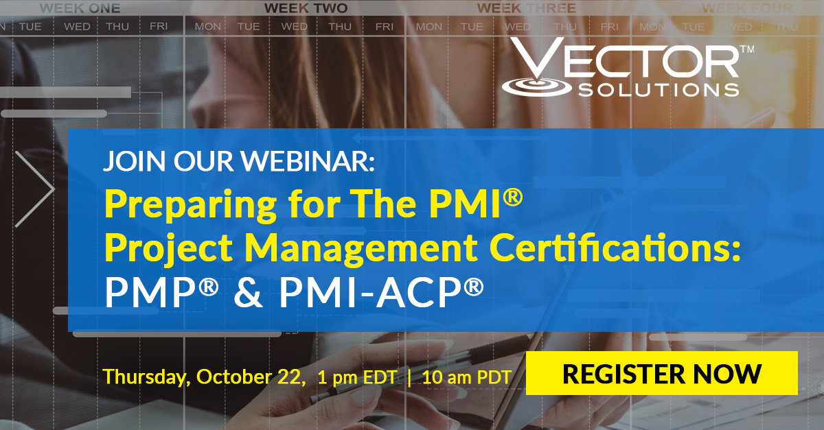 Banner for Webinar: Preparing for The PMI Project Management Certifications: PMP & PMI-ACP