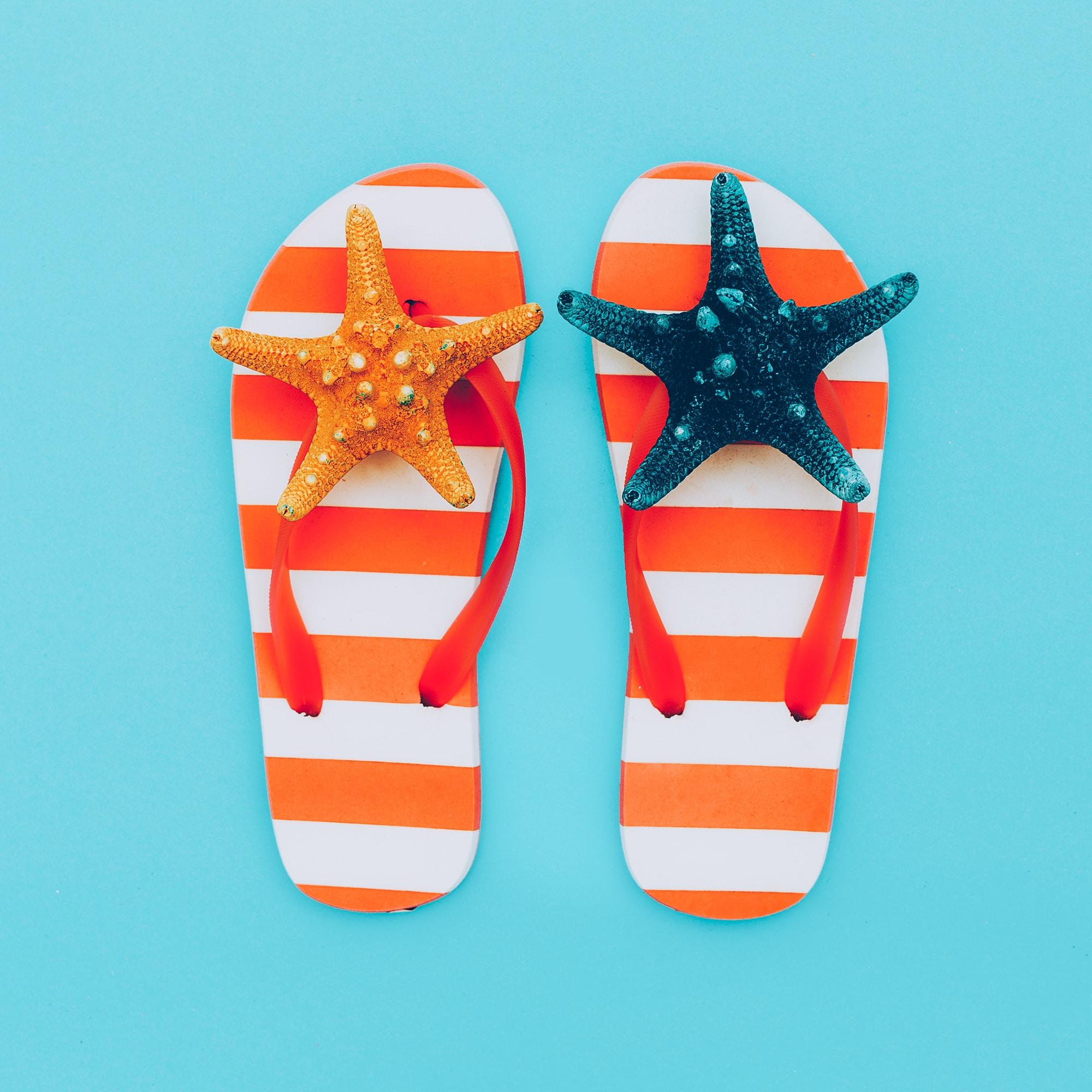 Flip-flops Vacation. Summer. Minimal beach style