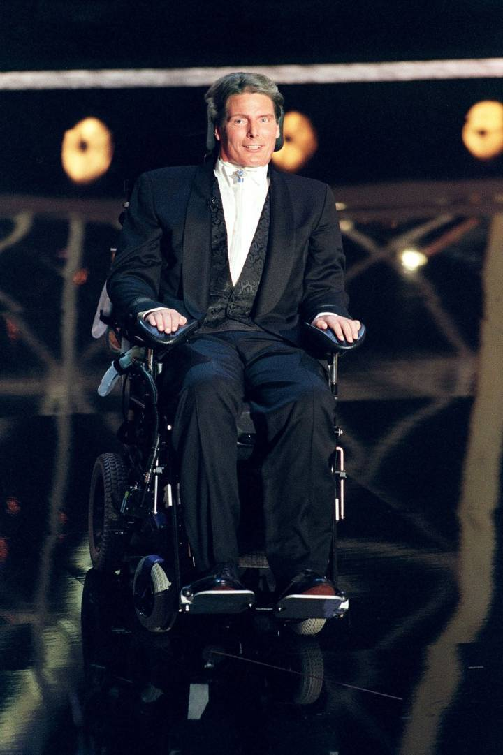 Christopher Reeves at the 1997 Emmy Awards, two years after suffering the accident that left him a person with quadriplegia. Photo: Getty