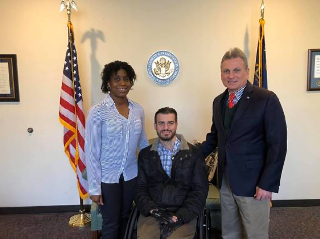 Felicia Gibson, Reeve Regional Champion, and her husband, Michael Gibson, are pictured with their congressman, Representative Carter (GA)