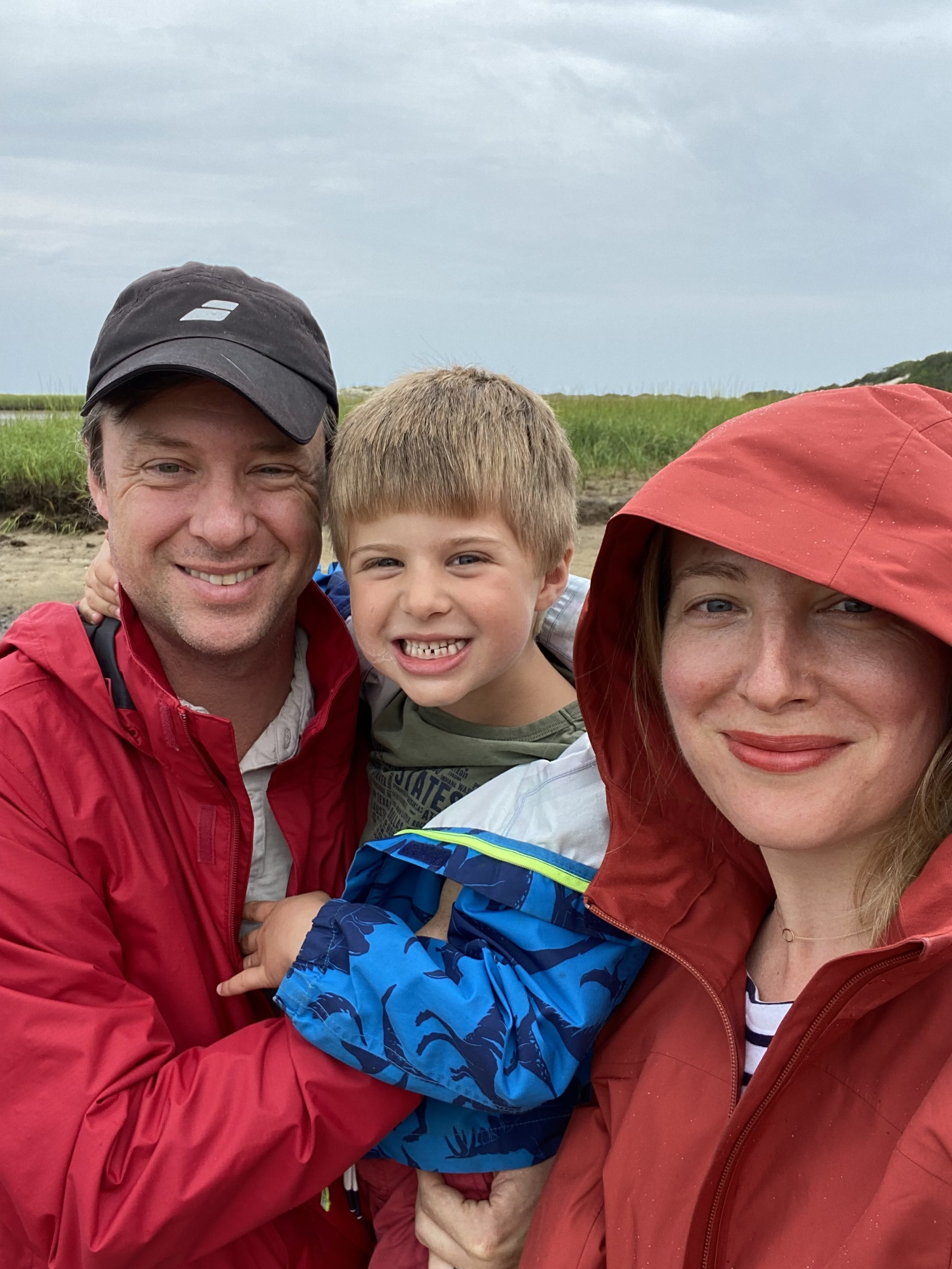 Sarah with her husband and son.