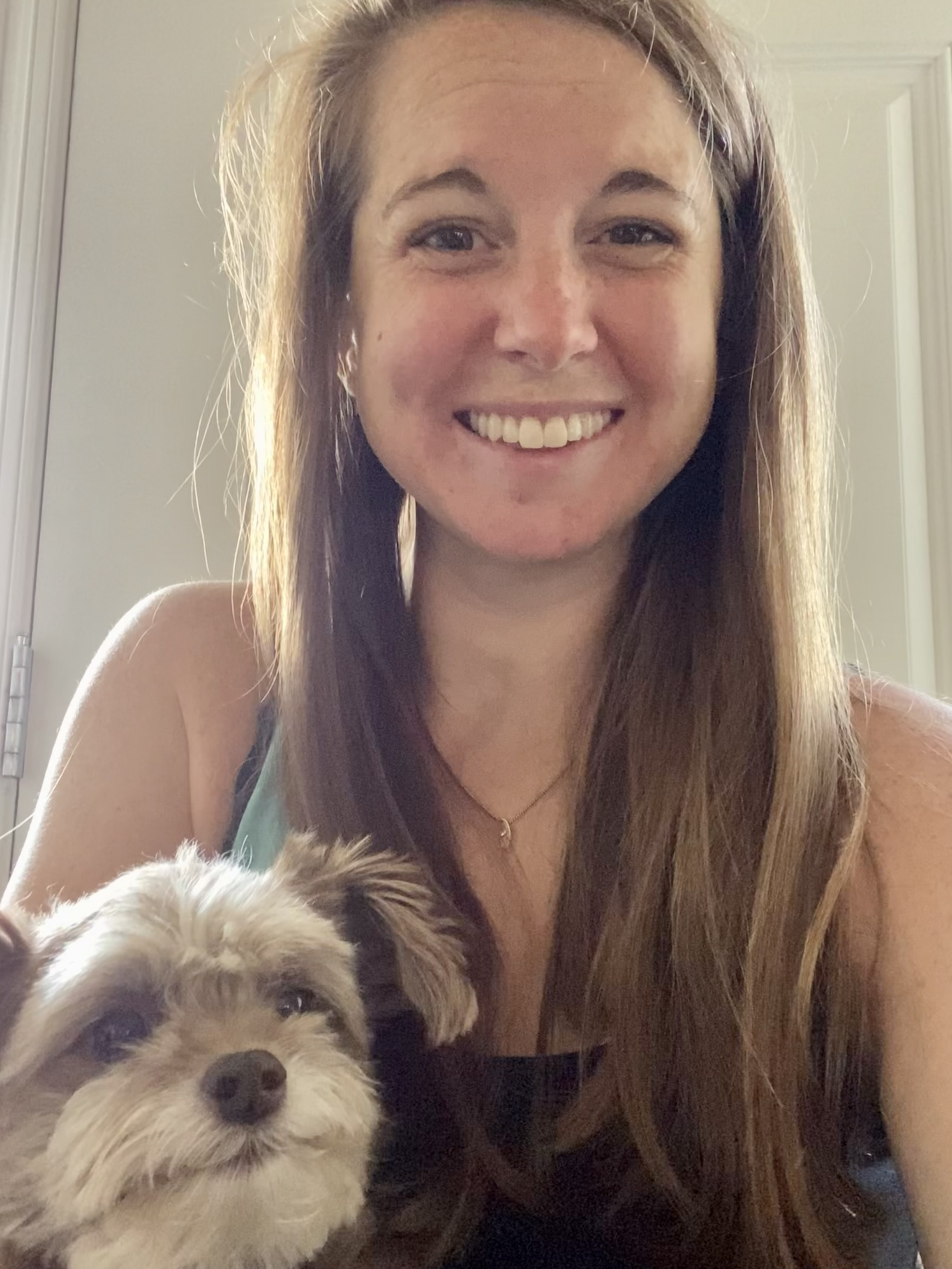 selfie of Kristin and her dog