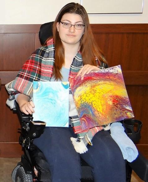 Former Resident Jenna showcasing her beautiful artwork.