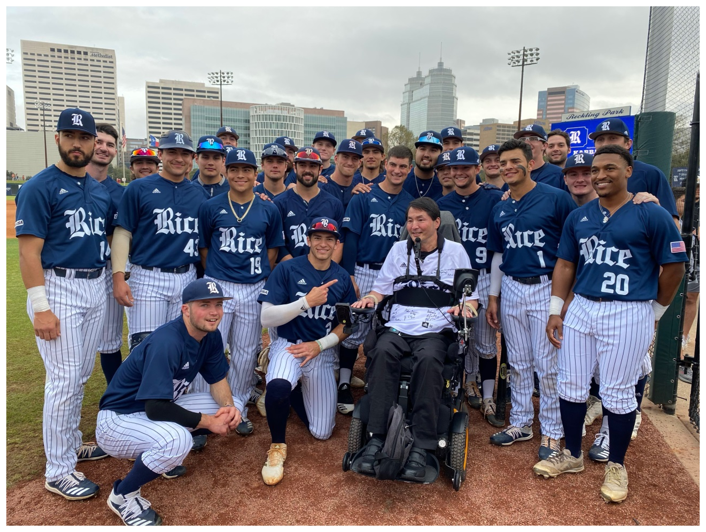 Dr. Rex Marco with the Rice University Baseball team