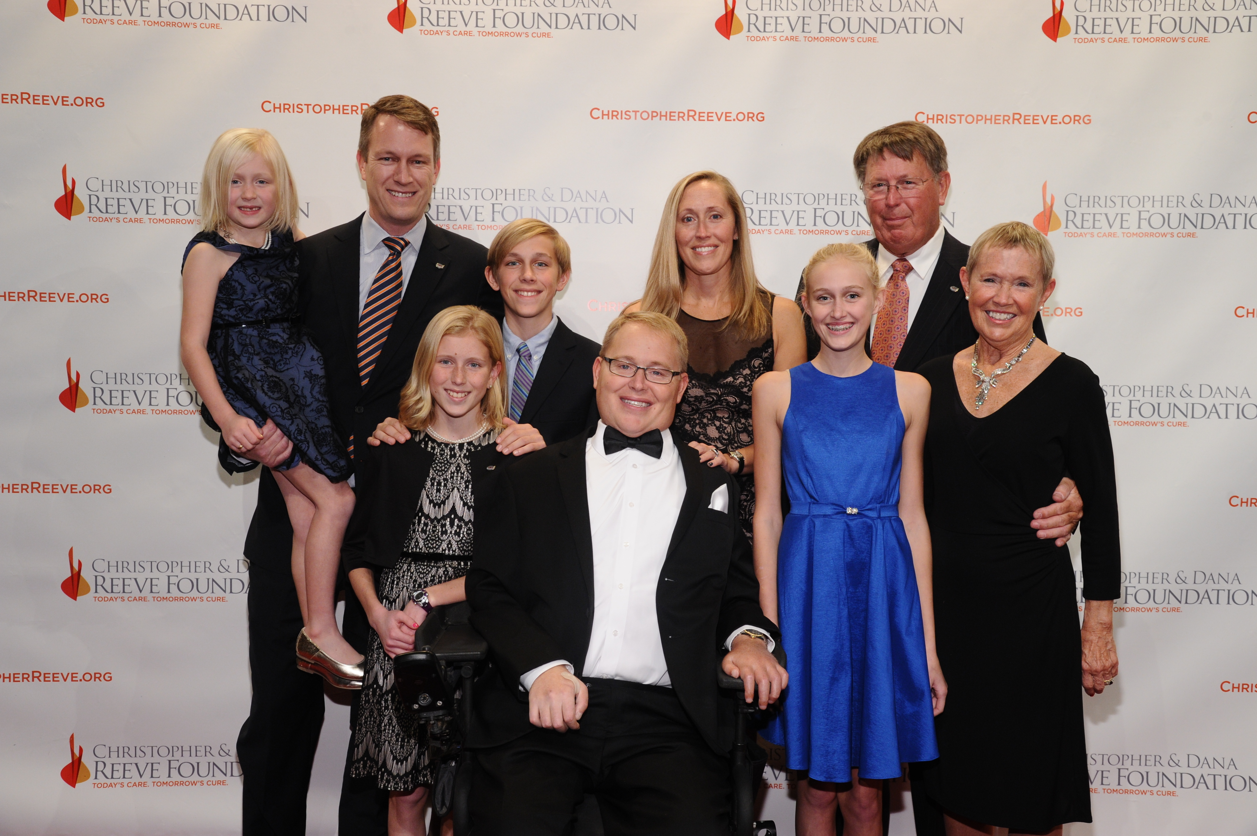 Travis Roy and his family at the Reeve Foundation's A Magical Evening in 2014.