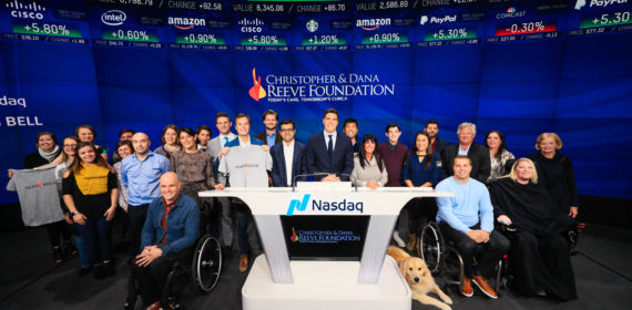 Reeve Foundation rings ceremonial bell at NASDAQ