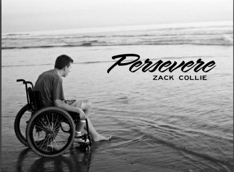 "black and white photo of Zack in wheelchair in front of ocean with the word ""Persevere"" written on the top right"