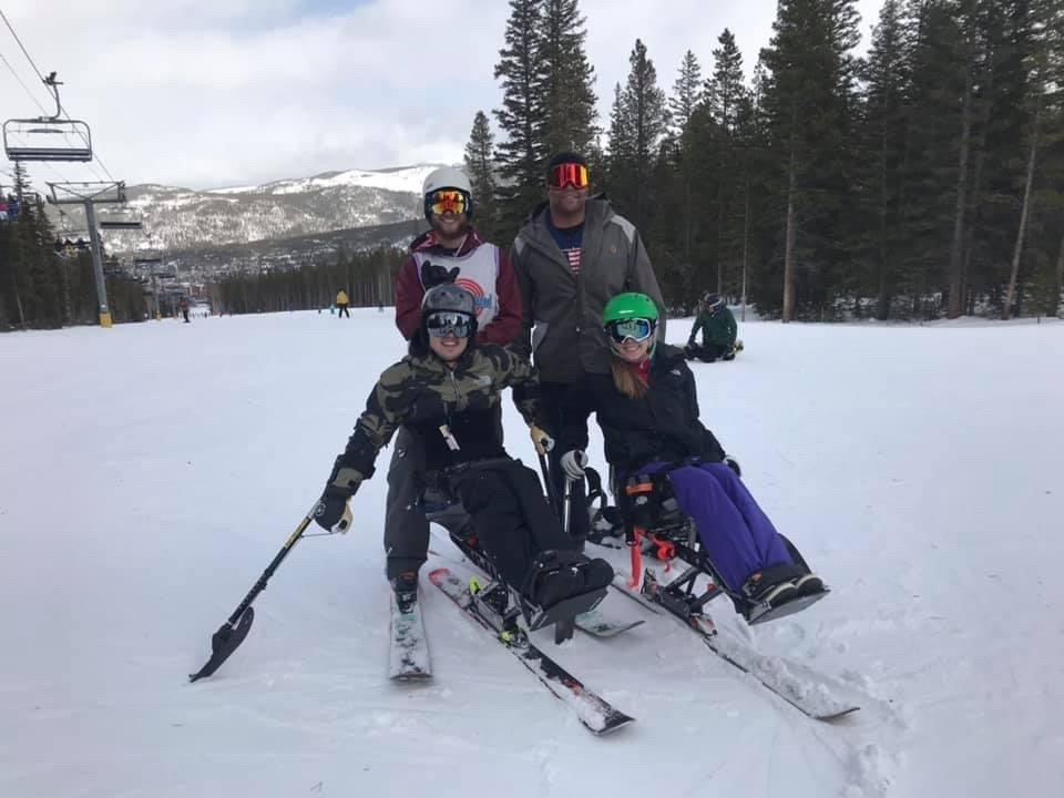 CJ skiing with friends