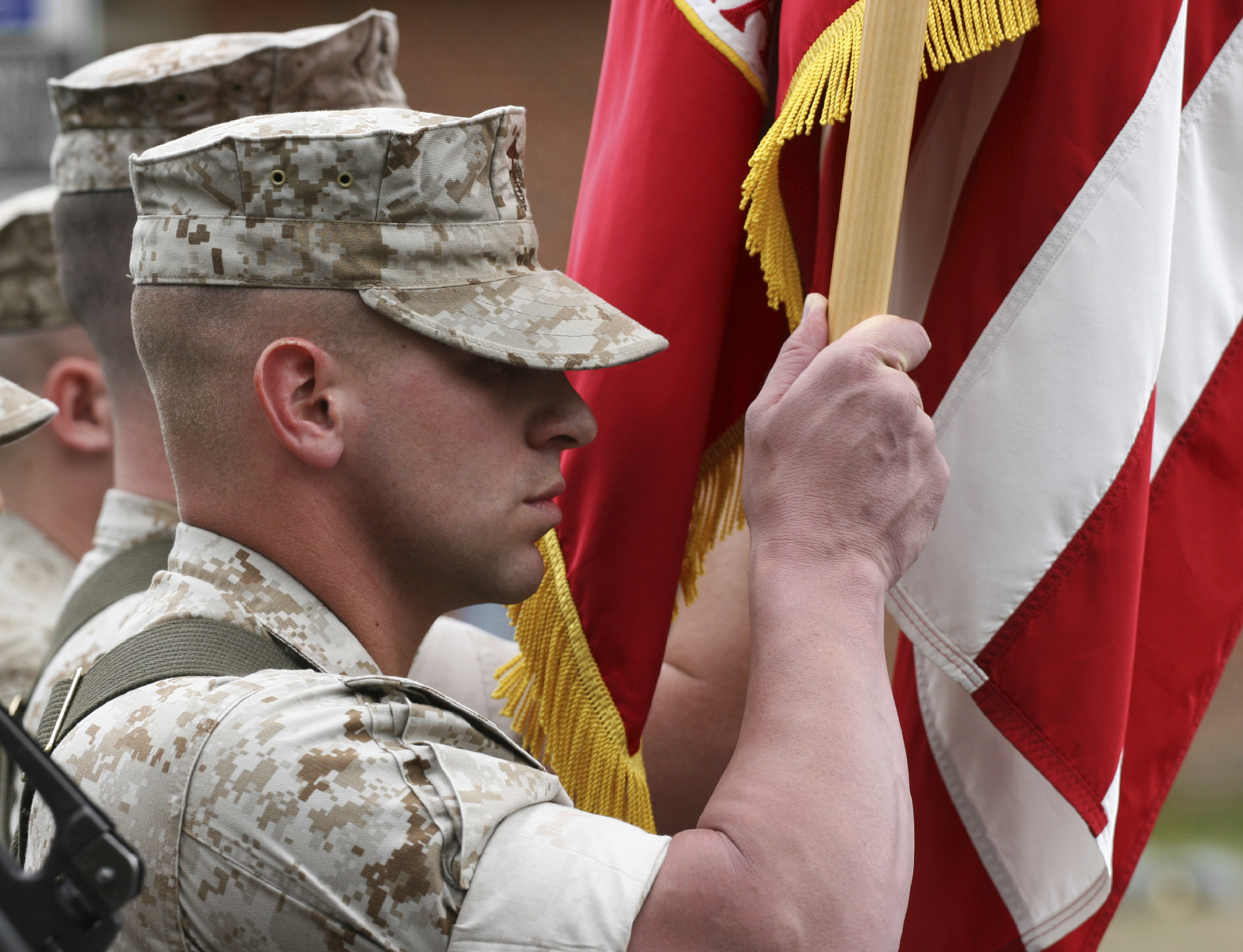 Soldier carrying flag