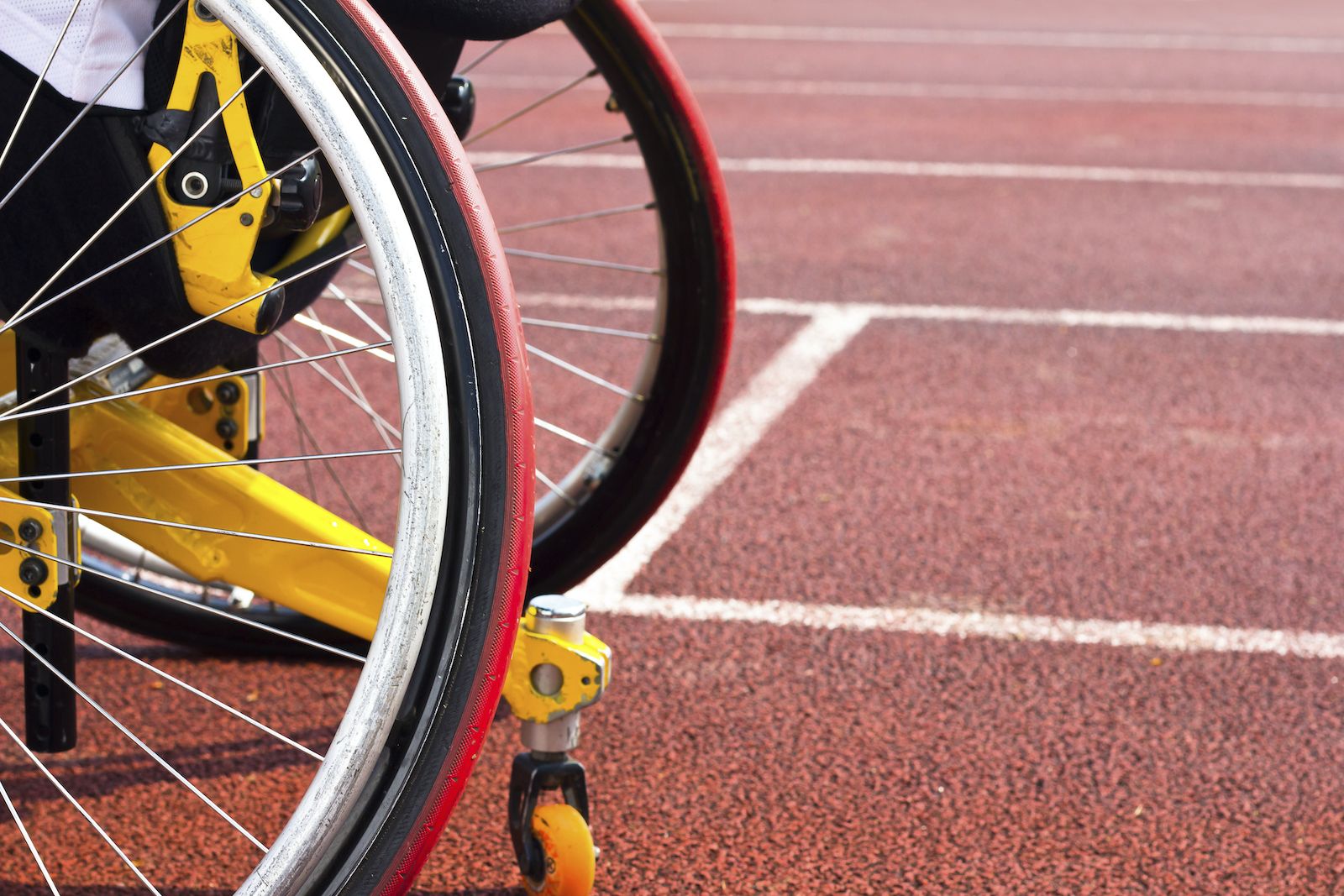 wheelchair on a track
