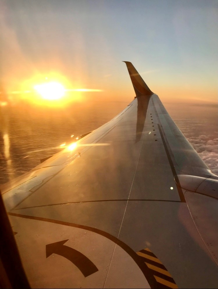 Sunrise from airplane