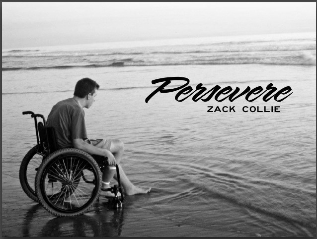 Zack Collie persevere, on beach