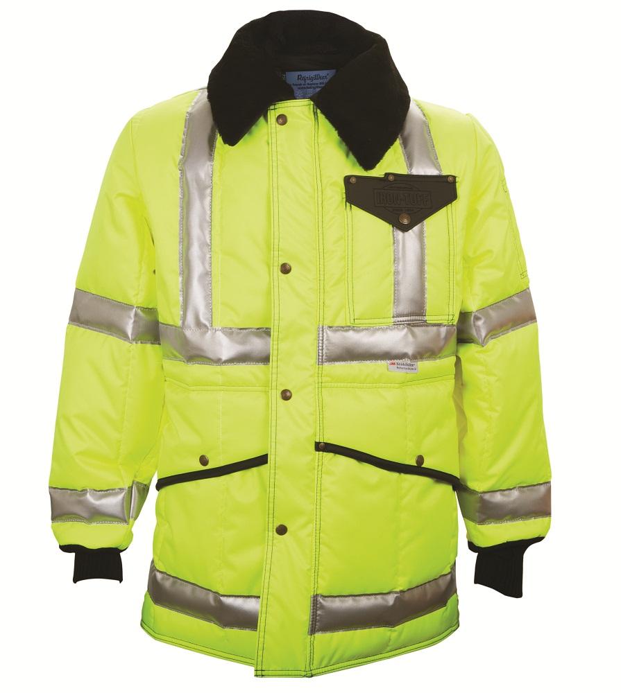 Refrigiwear Mens Hivisg Iron-tuffg Jackoat Jacket With Reflective Tape Hivis Orange Xl