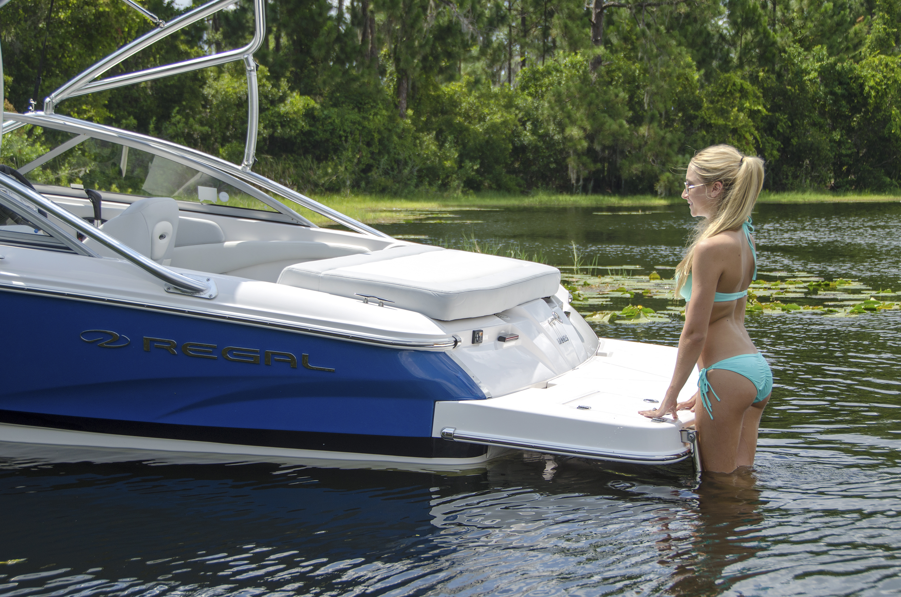 The swim platform ladder makes for easy access to the