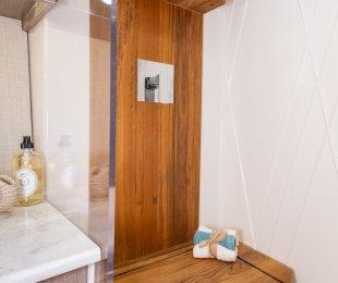 Teak Floor and Walk-In Shower