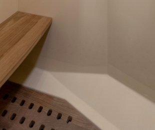 Teak Floor and Seat in Separate Shower
